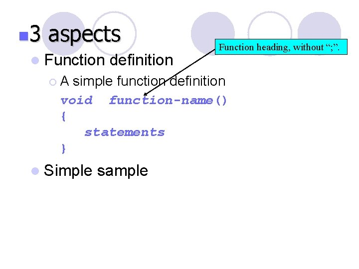 """n 3 aspects l Function definition ¡A Function heading, without """"; """". simple function"""