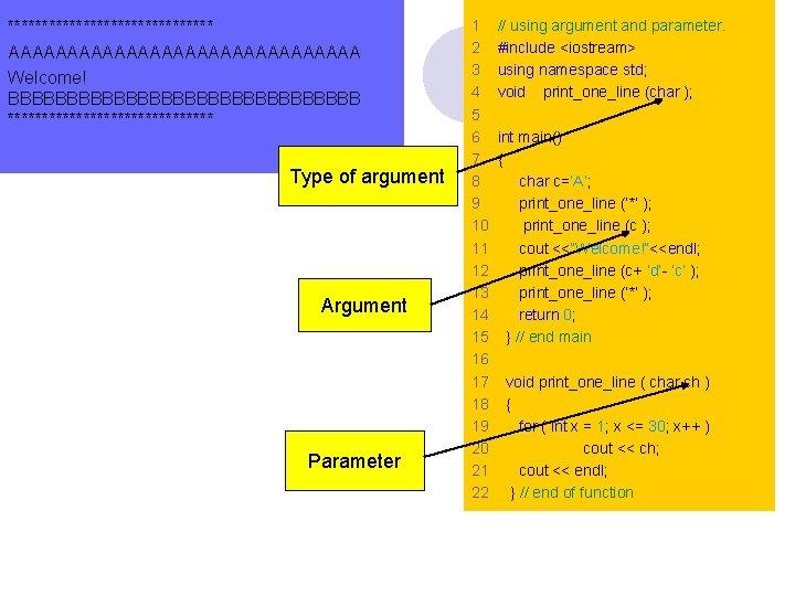 *************** AAAAAAAAAAAAAAA Welcome! BBBBBBBBBBBBBBB *************** Type of argument Argument Parameter 1 2 3 4