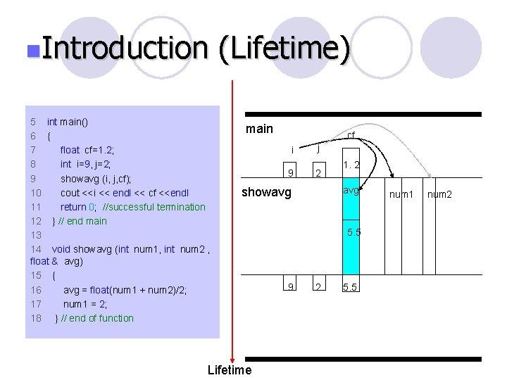 n. Introduction 5 int main() 6 { 7 float cf=1. 2; 8 int i=9,