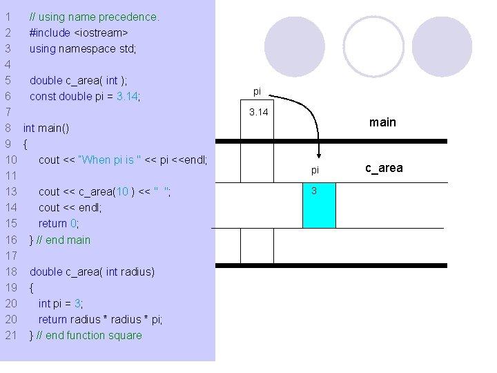 1 // using name precedence. 2 #include <iostream> 3 using namespace std; 4 5