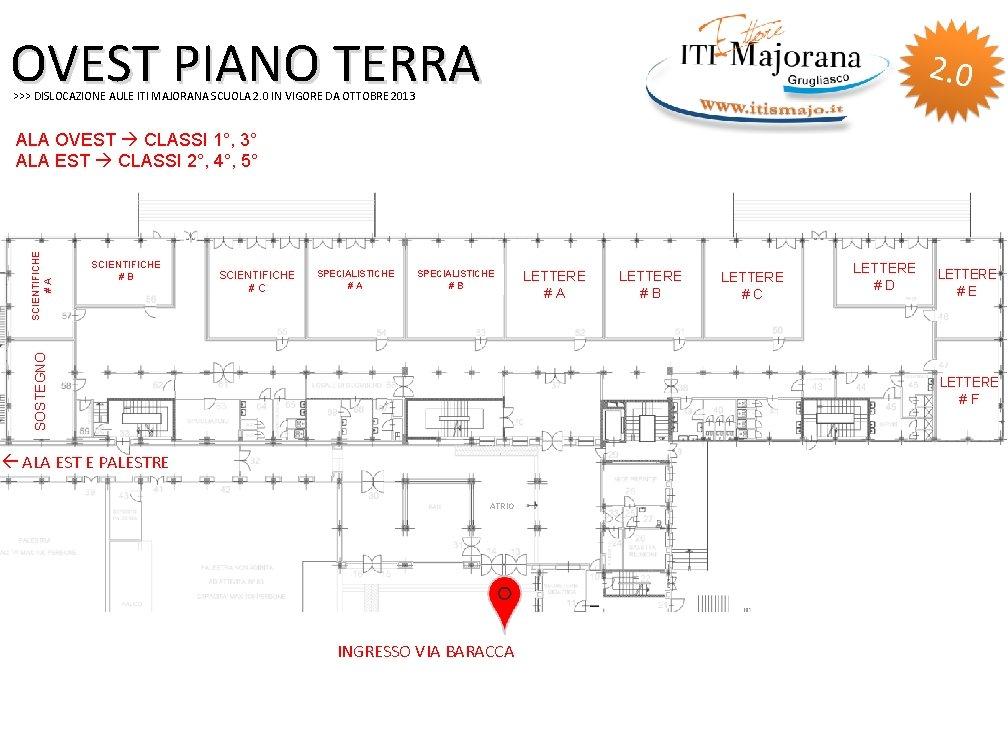 OVEST PIANO TERRA >>> DISLOCAZIONE AULE ITI MAJORANA SCUOLA 2. 0 IN VIGORE DA