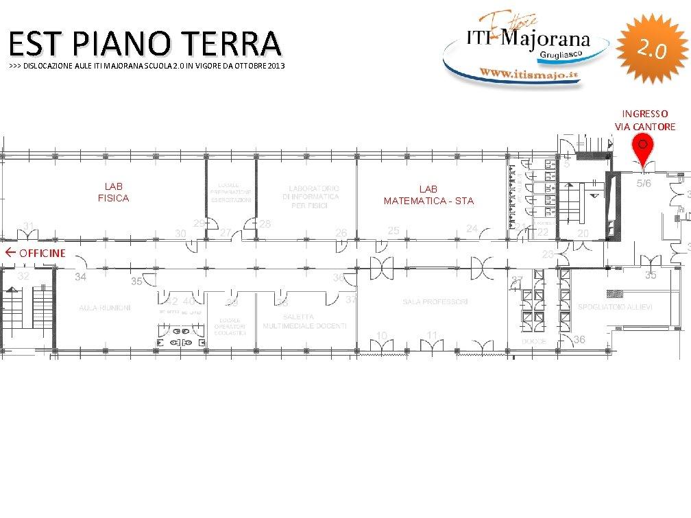 EST PIANO TERRA >>> DISLOCAZIONE AULE ITI MAJORANA SCUOLA 2. 0 IN VIGORE DA