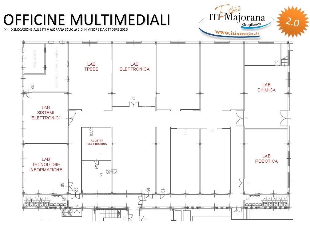 OFFICINE MULTIMEDIALI >>> DISLOCAZIONE AULE ITI MAJORANA SCUOLA 2. 0 IN VIGORE DA OTTOBRE