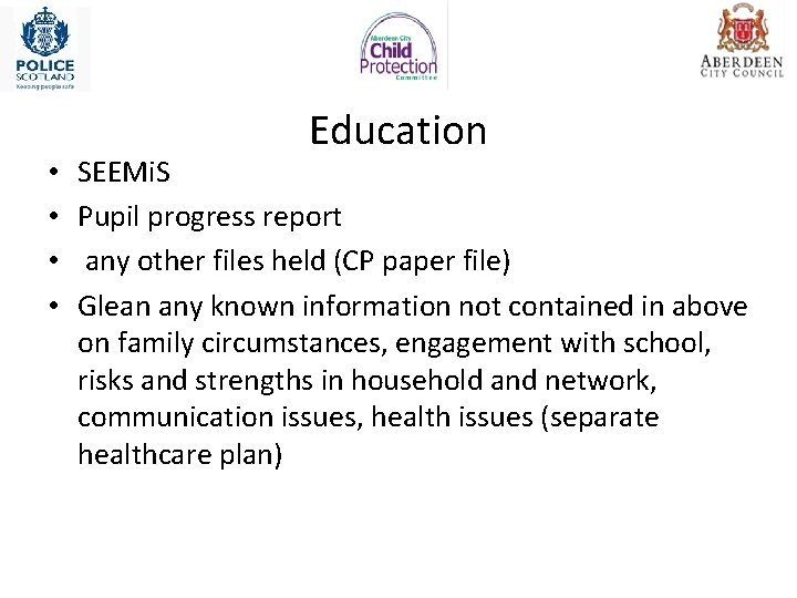 • • Education SEEMi. S Pupil progress report any other files held (CP