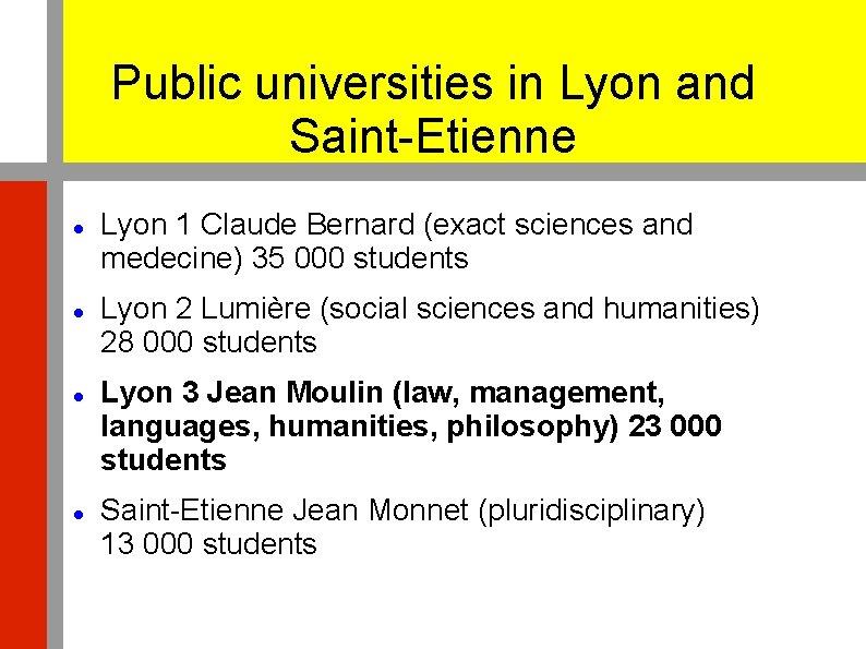 Public universities in Lyon and Saint-Etienne Lyon 1 Claude Bernard (exact sciences and medecine)