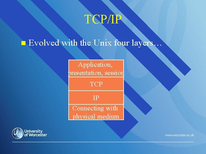 TCP/IP n Evolved with the Unix four layers… Application, presentation, session TCP IP Connecting