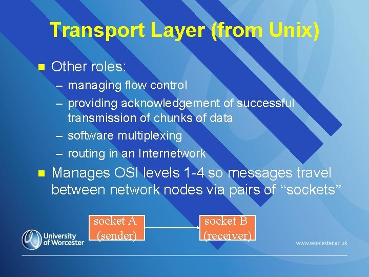 Transport Layer (from Unix) n Other roles: – managing flow control – providing acknowledgement