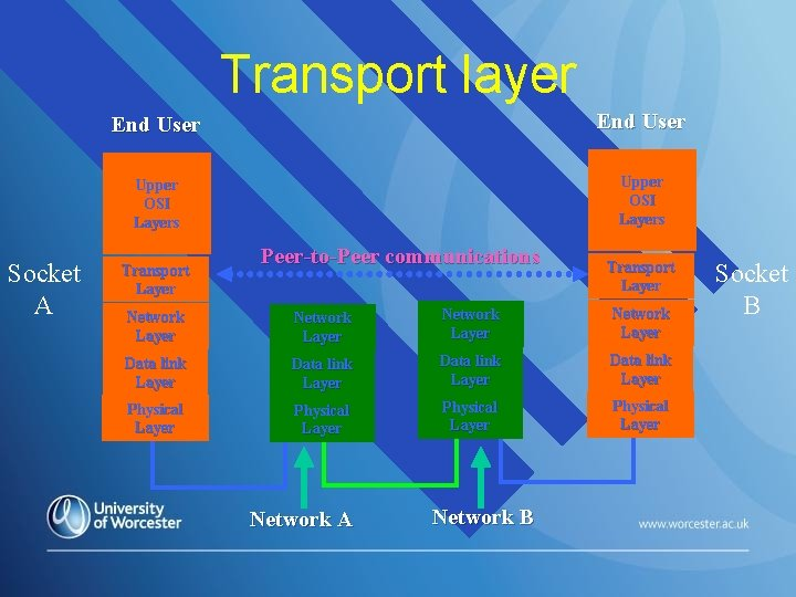 Transport layer Socket A End User Upper OSI Layers Transport Layer Peer-to-Peer communications Transport