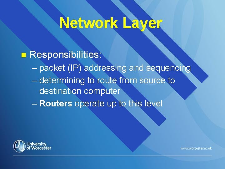 Network Layer n Responsibilities: – packet (IP) addressing and sequencing – determining to route