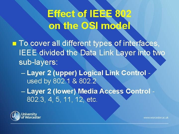 Effect of IEEE 802 on the OSI model n To cover all different types