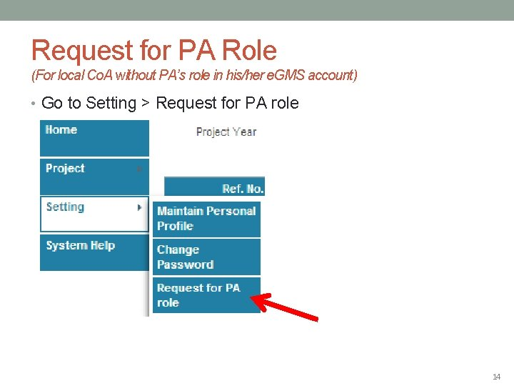 Request for PA Role (For local Co. A without PA's role in his/her e.
