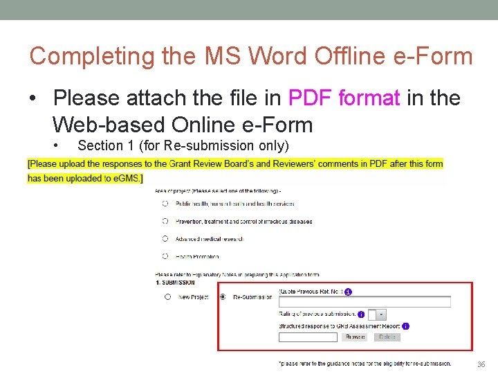 Completing the MS Word Offline e-Form • Please attach the file in PDF format