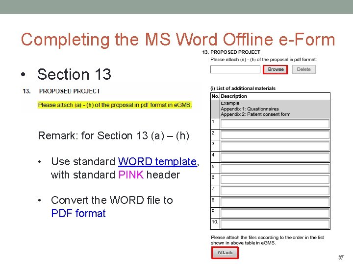 Completing the MS Word Offline e-Form • Section 13 Remark: for Section 13 (a)