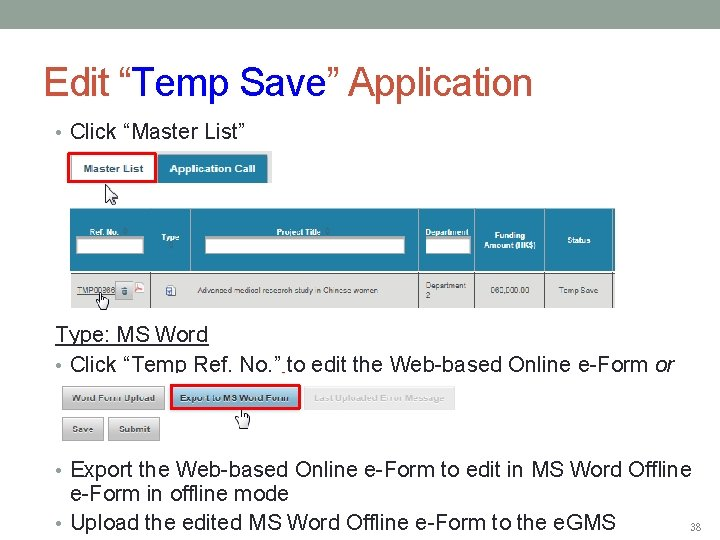"Edit ""Temp Save"" Application • Click ""Master List"" Type: MS Word • Click ""Temp"