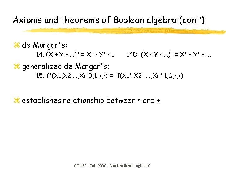 Axioms and theorems of Boolean algebra (cont') z de Morgan's: 14. (X + Y