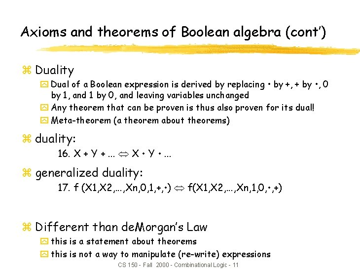 Axioms and theorems of Boolean algebra (cont') z Duality y Dual of a Boolean