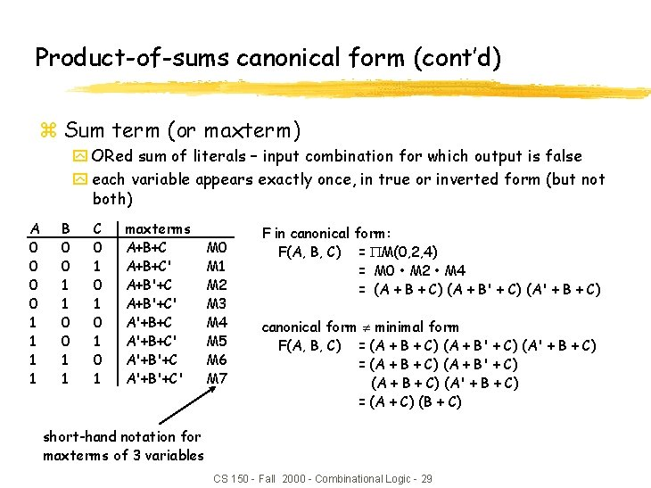 Product-of-sums canonical form (cont'd) z Sum term (or maxterm) y ORed sum of literals