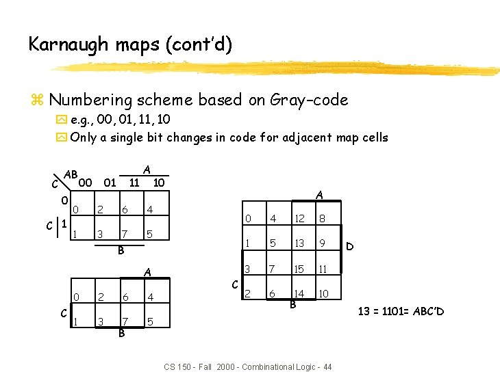 Karnaugh maps (cont'd) z Numbering scheme based on Gray–code y e. g. , 00,