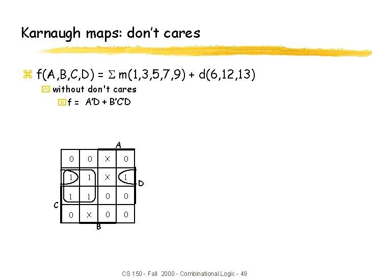 Karnaugh maps: don't cares z f(A, B, C, D) = m(1, 3, 5, 7,