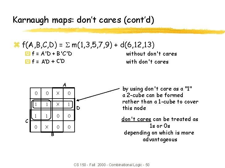 Karnaugh maps: don't cares (cont'd) z f(A, B, C, D) = m(1, 3, 5,