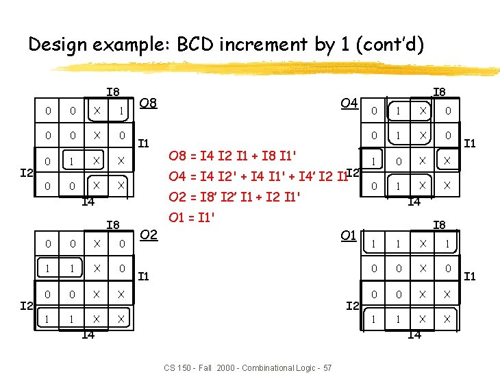 Design example: BCD increment by 1 (cont'd) I 8 I 2 0 0 X