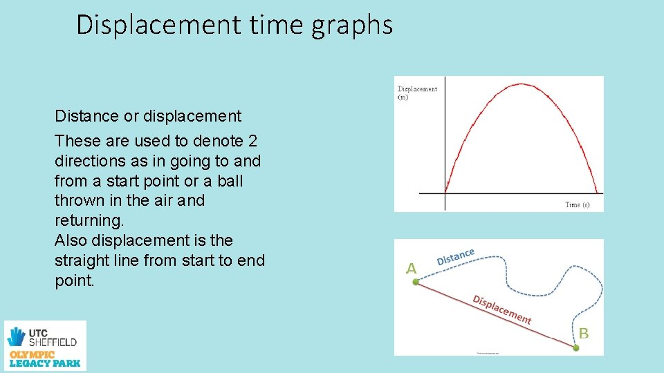 Displacement time graphs Distance or displacement These are used to denote 2 directions as