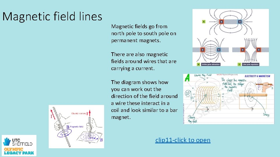 Magnetic field lines Magnetic fields go from north pole to south pole on permanent
