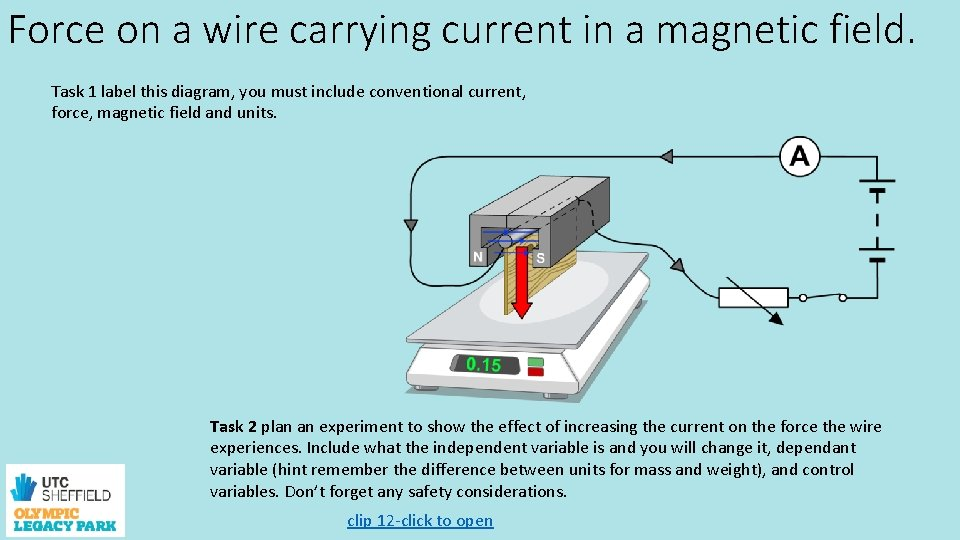 Force on a wire carrying current in a magnetic field. Task 1 label this