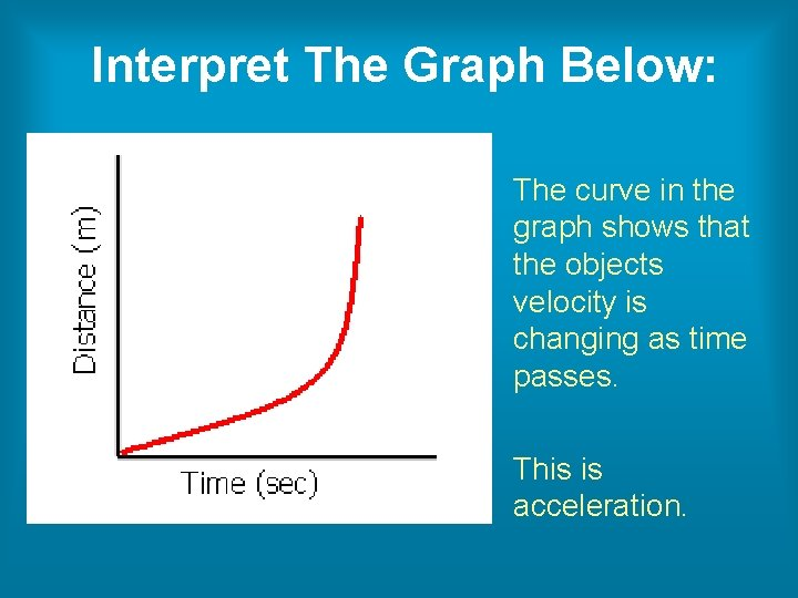 Interpret The Graph Below: The curve in the graph shows that the objects velocity
