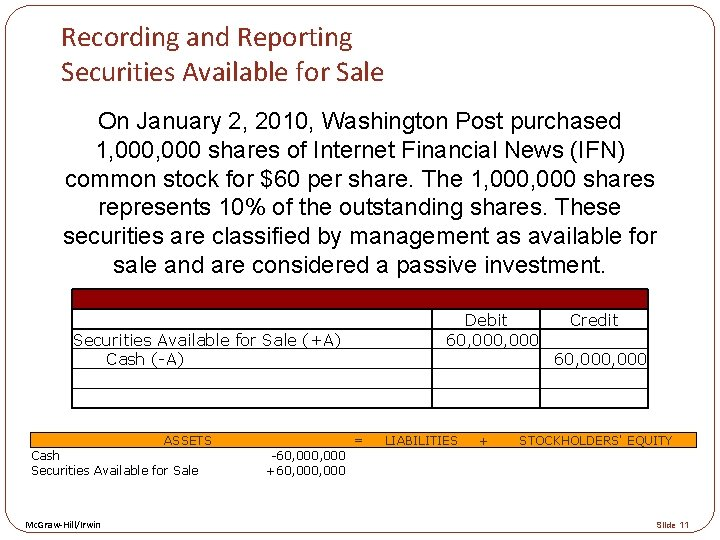 Recording and Reporting Securities Available for Sale On January 2, 2010, Washington Post purchased