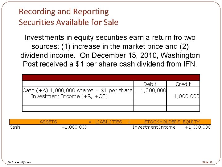 Recording and Reporting Securities Available for Sale Investments in equity securities earn a return