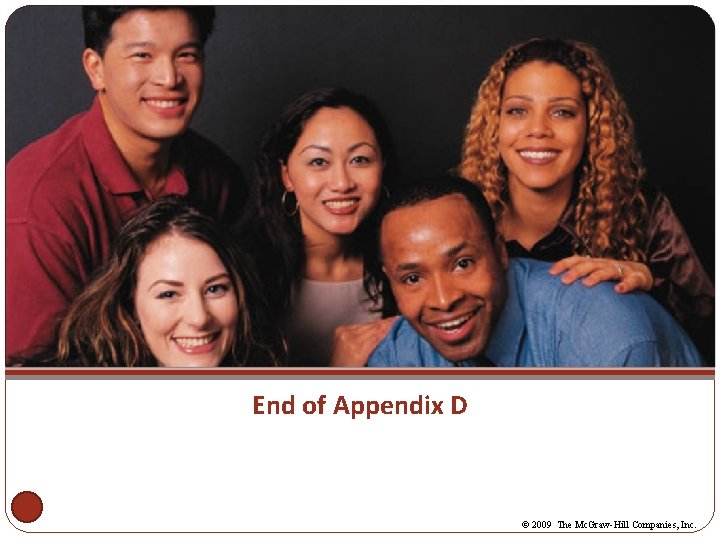 End of Appendix D © 2009 The Mc. Graw-Hill Companies, Inc.