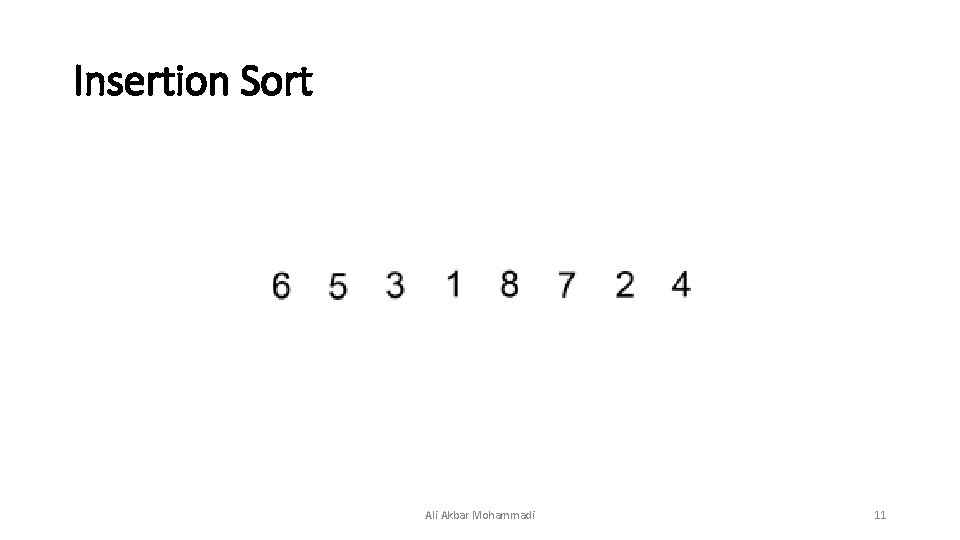 Insertion Sort Ali Akbar Mohammadi 11