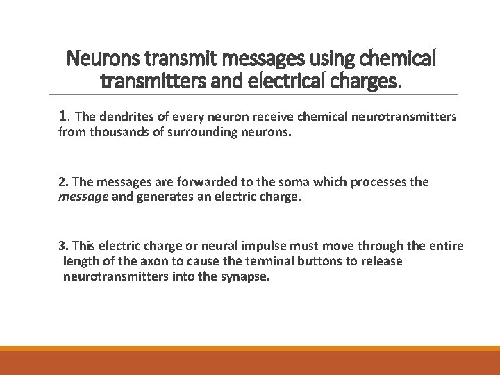 Neurons transmit messages using chemical transmitters and electrical charges. 1. The dendrites of every