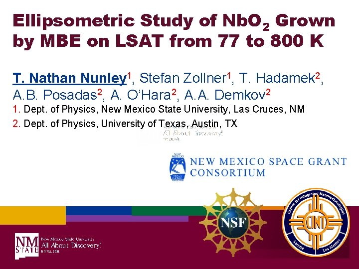 Ellipsometric Study of Nb. O 2 Grown by MBE on LSAT from 77 to