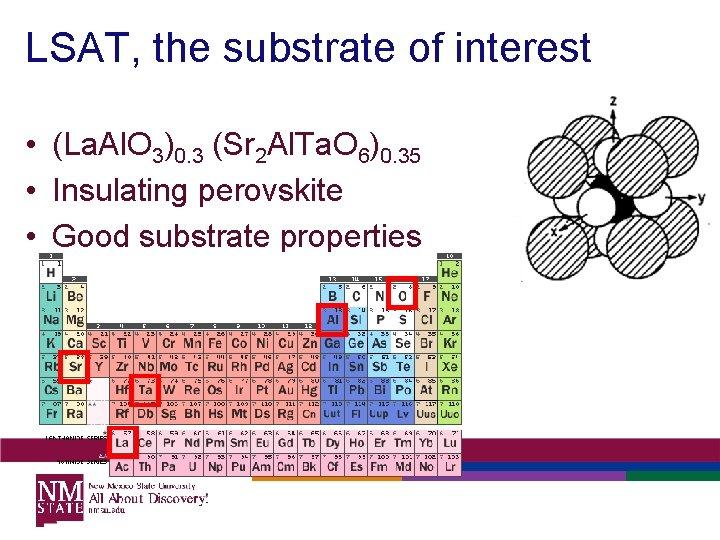 LSAT, the substrate of interest • (La. Al. O 3)0. 3 (Sr 2 Al.