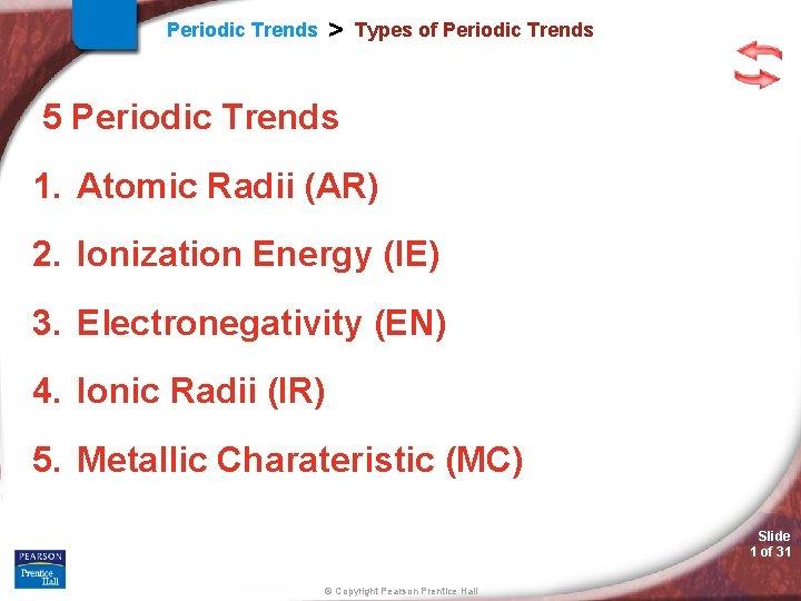 > Periodic Trends Types of Periodic Trends 5 Periodic Trends 1. Atomic Radii (AR)