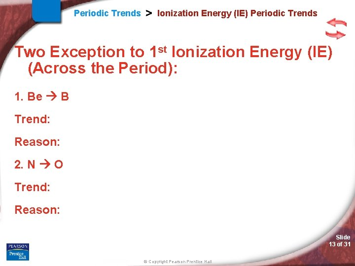 Periodic Trends > Ionization Energy (IE) Periodic Trends Two Exception to 1 st Ionization