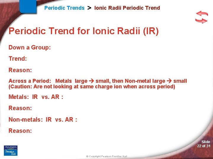 Periodic Trends > Ionic Radii Periodic Trend for Ionic Radii (IR) Down a Group: