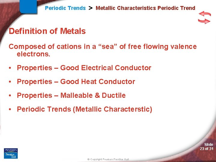 Periodic Trends > Metallic Characteristics Periodic Trend Definition of Metals Composed of cations in