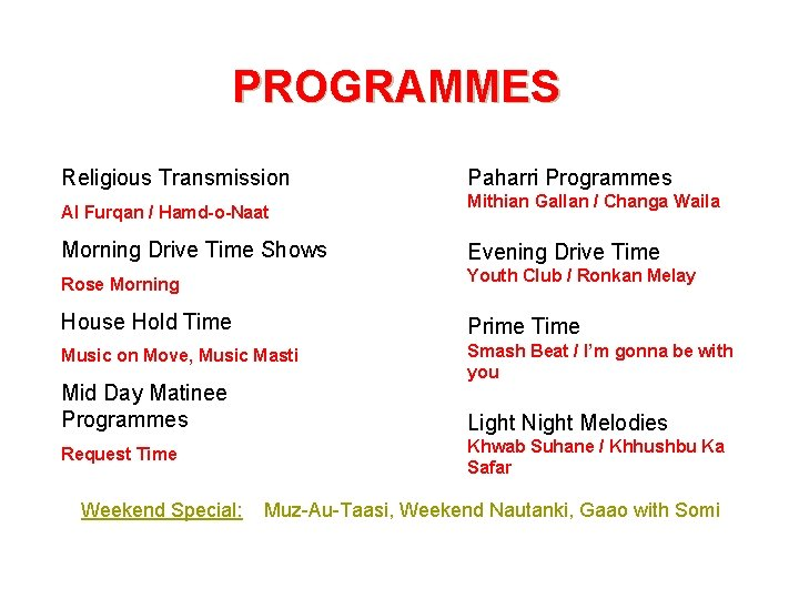 PROGRAMMES Religious Transmission Al Furqan / Hamd-o-Naat Paharri Programmes Mithian Gallan / Changa Waila