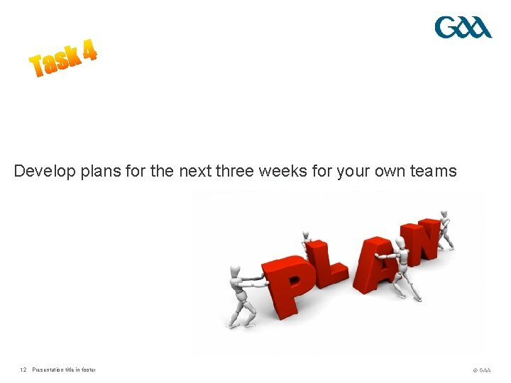 Develop plans for the next three weeks for your own teams ? 12 Presentation