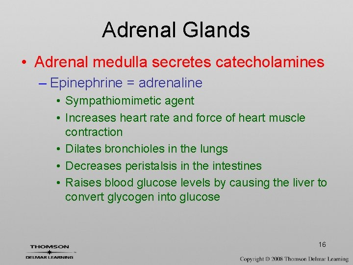 Adrenal Glands • Adrenal medulla secretes catecholamines – Epinephrine = adrenaline • Sympathiomimetic agent