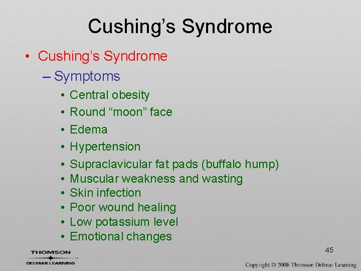 """Cushing's Syndrome • Cushing's Syndrome – Symptoms • • • Central obesity Round """"moon"""""""
