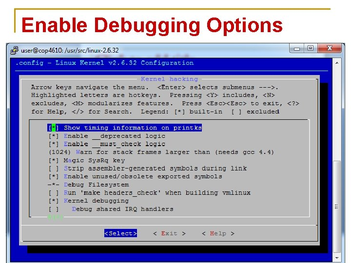 Enable Debugging Options 66