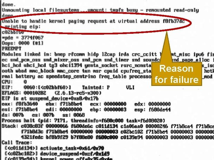 Reason for failure 70