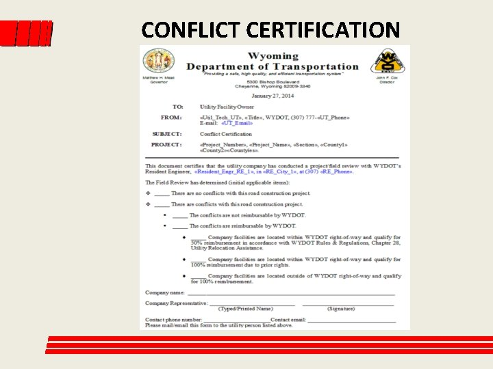 CONFLICT CERTIFICATION