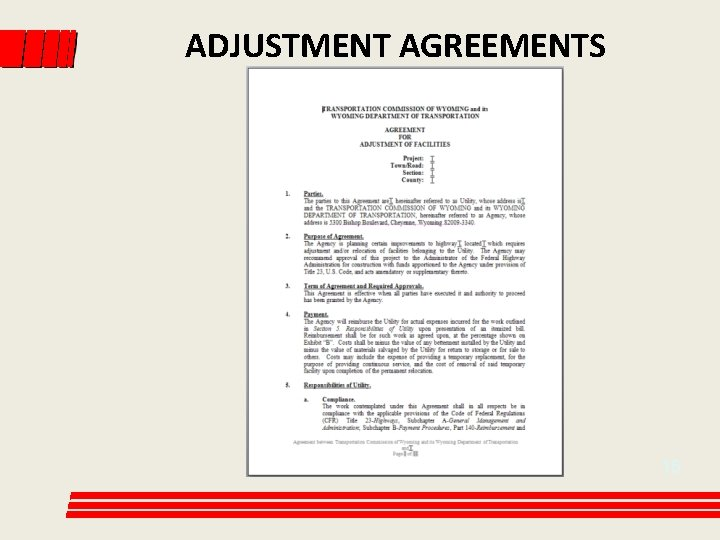 ADJUSTMENT AGREEMENTS 15