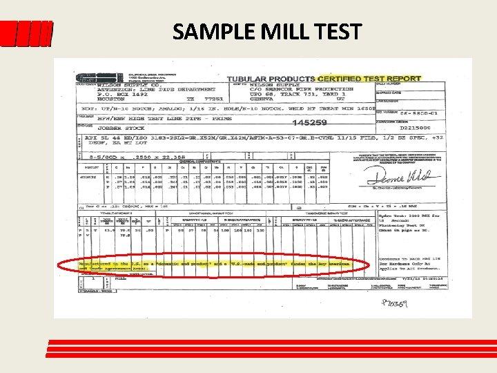 SAMPLE MILL TEST