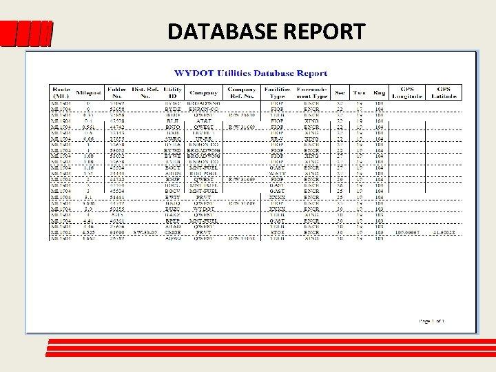 DATABASE REPORT